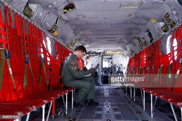 An inside view of a Boeing CH47 Chinook of Turkish Armed Forces during a press tour at Senior Lieutenant Gurcan Ulucan Airfield in Ankara Turkey on...