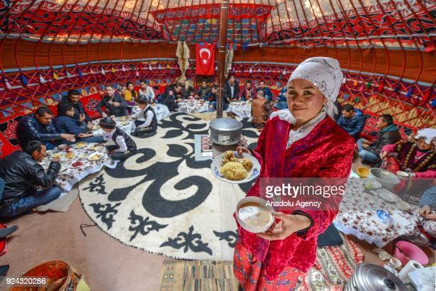 An inside view of a giant pavilion put up by Kyrgyz brothers Kenan and Ahmet Aytac emigrated from Afghanistan's Pamir plateau 36 years ago and...