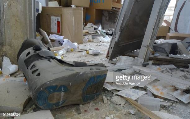 An inside view of a health center after Russian airstrikes hit Mishmishan village of Idlib's Jisr alShughur district in Syria on February 07 2018...