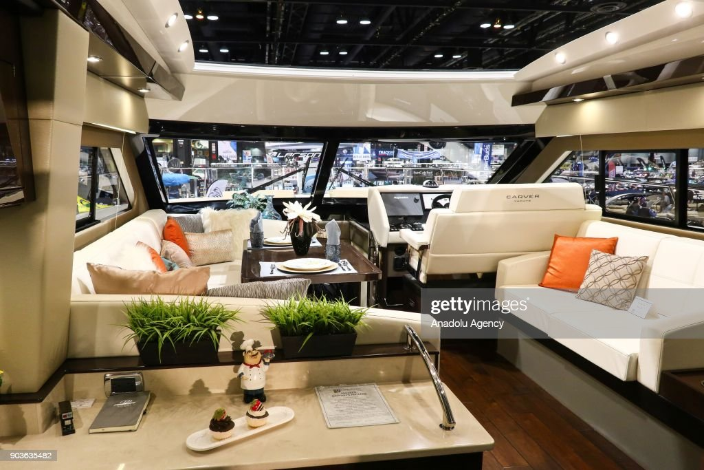 An Inside View Of A Luxury Yacht Is Seen During The Progressive Insurance Chicago Boat
