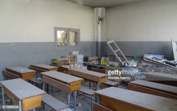 An inside view of a school after Russian airstrikes hit Mishmishan village of Idlib's Jisr alShughur district in Syria on February 07 2018 Casualties...