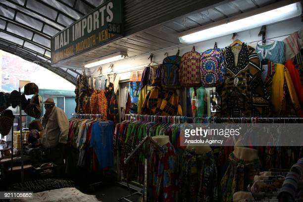 An inside view of a shop at Malcolm X bazaar ahead of 53rd anniversary of Malcolm X's assassination in Harlem neighborhood of Manhattan borough in...