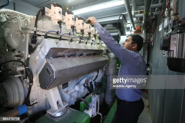 An inside view of Al Jebrini Dairy Products Factory which supplies electricity demand from the animal manures due to the electricity problem around...