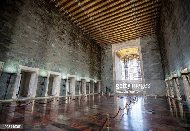 An inside view of Anitkabir the mausoleum of founder of the Republic of Turkey Mustafa Kemal Ataturk without visitors is seen after authorities...