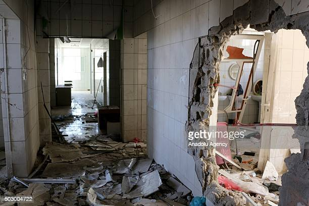 An inside view of es-Sevre hospital after shiite Houthis shelling in Taiz, Yemen on December 31, 2015.