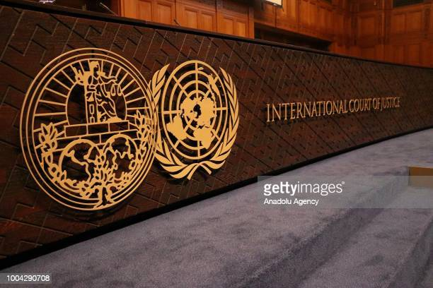 An inside view of International Court of Justice in The Hague Netherlands on July 23 2018 The International Court of Justice on Monday ruled that the...