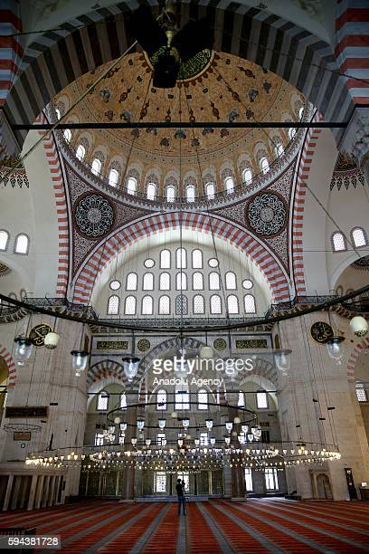 An inside view of Suleymaniye Mosque in Istanbul Turkey on August 17 2016 The stillunsolved mysteries of Mimar Sinan'a Suleymaniye Mosque which...
