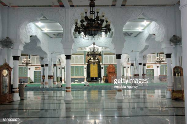 An inside view of the Baiturrahman Grand Mosque which was built in 1612 during the reign of Aceh Sultan Iskandar Muda in Aceh Indonesia on June 06...