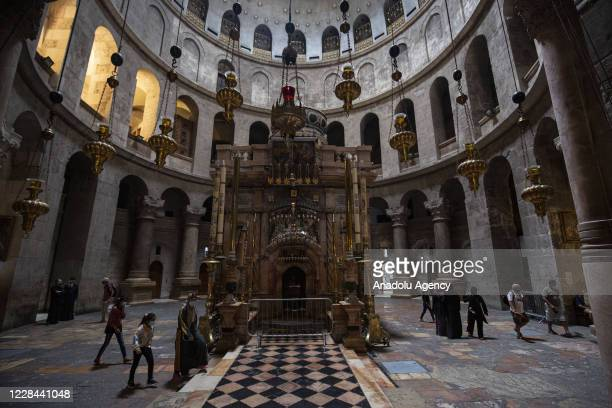 An inside view of the Church of the Holy Sepulchre, remaining less crowded than the usual due to the raise in coronavirus cases in Eastern Jerusalem...