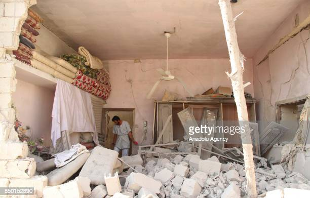 An inside view of the scene is seen after Abu Bakr AsSiddiq Mosque was hit with an air strike in Idlib Syria on September 20 2017 It is reported that...