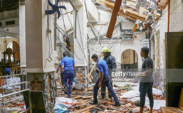 An inside view of the St Anthony's Shrine after an explosion hit St Anthony's Church in Kochchikade in Colombo Sri Lanka on April 21 2019 According...