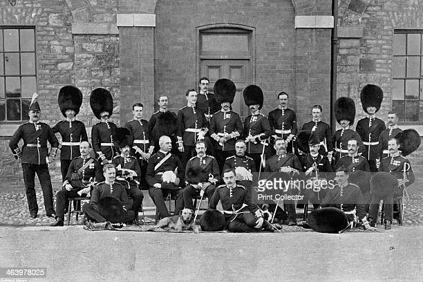 An inspection group of officers of the 1st Scots Guards 1896 MajorGeneral Moncrieff in the centre A print from The Navy and Army Illustrated 21st...