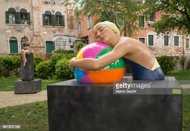 An installation by Carole A. Feuerman is seen on May 11, 2017 in Venice, Italy. The 57th International Art Exhibition of La Biennale di Venezia will...