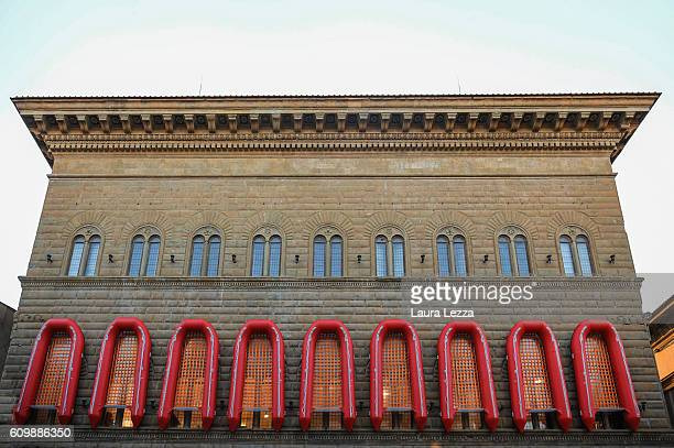 An installation by the Chinese artist Ai Weiwei featuring 22 rubber boats dedicated to the refugees who risk their lives to reach Europe is displayed...