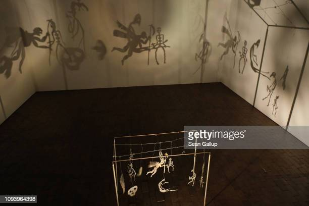 An installation called 'Theatre of Shadows' by Christian Boltanski runs at 'Bauhaus 100 Years The Opening Festival' during a press preview at the...