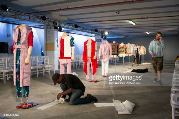 An installation during the South African Menswear Week on February 7 2015 in the Cape Town Stadium South Africa