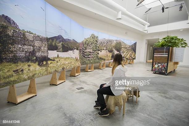 An installation is seen in the Biennale Pavillion of the 15th Architecture Venice Biennale on May 26 2016 in Venice Italy The 15th International...