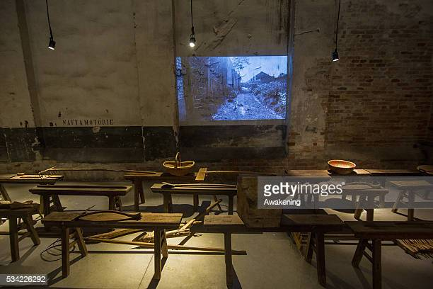 An installation is seen in the Republic Chinese Pavillion of the 15th Architecture Venice Biennale on May 25 2016 in Venice Italy The 15th...