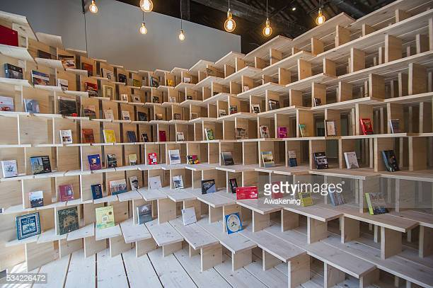 An installation is seen in the Slovenia Pavillion of the 15th Architecture Venice Biennale on May 25 2016 in Venice Italy The 15th International...