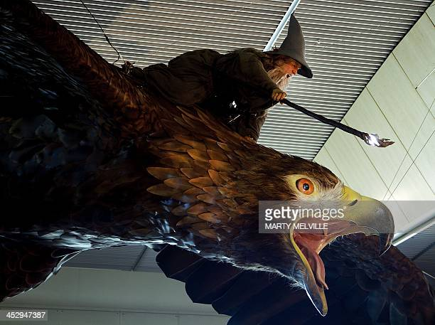 An installation of the giant eagle 'Gwaihir' creature from the 'Hobbit' movie is seen with its rider Gandalf hanging from the roof at Wellington...