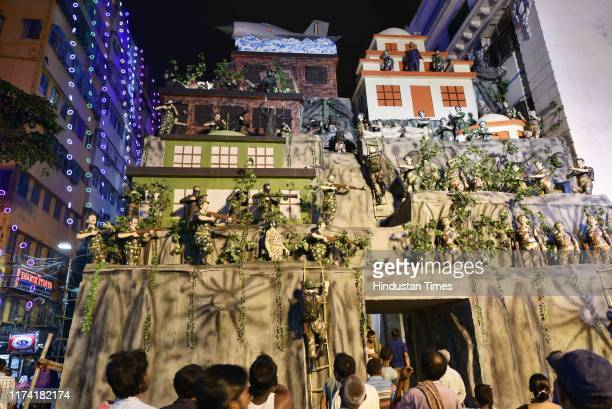 An installation where the sculpture of Wing Commander Abhinandan Varthaman famous for the Balakot strike has been placed at the Durga Puja pandal at...