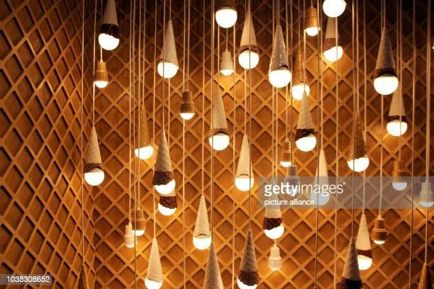 An installation with illuminated ice cream cones seen in the Museum of Ice Cream in New York USA 28 July 2016 The museum featuring all things ice...