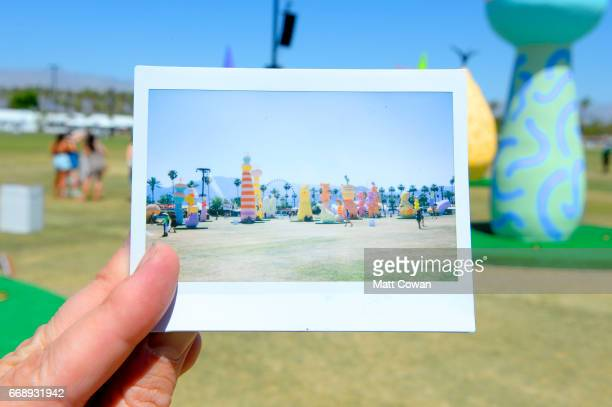 An instant print of the Chiaozza Garden installation by Chiaozza during day 2 of the Coachella Valley Music And Arts Festival at the Empire Polo Club...