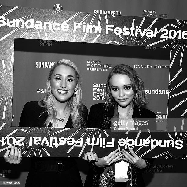 An instant view of actors Harley Quinn Smith and LilyRose Melody Depp attend the Yoga Hosers Premiere during the 2016 Sundance Film Festival at...
