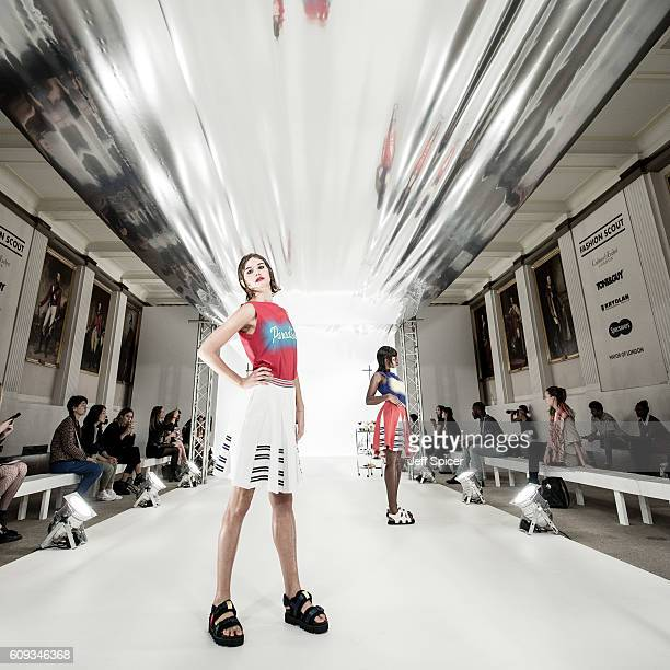 An Instant view of models at the Pointblank presentation at Fashion Scout during London Fashion Week Autumn/Winter collections 2016/2017 on September...