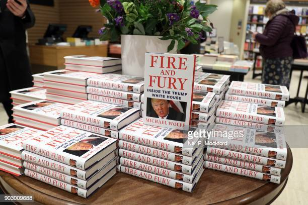 An instore display at Waterstone's Piccadilly shows copies of one of the UK's first consignments of 'Fire and Fury Inside the Trump White House' by...