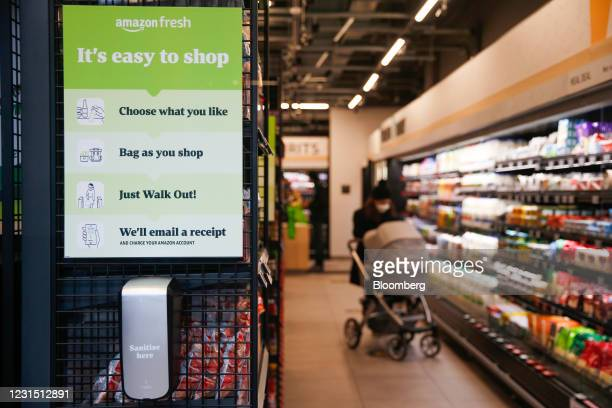 An instructions sign at the Amazon.com Inc. Amazon Fresh cashierless convenience store in the Ealing area of London, U.K., on Thursday, March 4,...