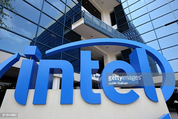 An Intel sign is displayed in front of the Intel company headquarters July 15 2008 in Santa Clara California Intel has reported a 25 percent increase...