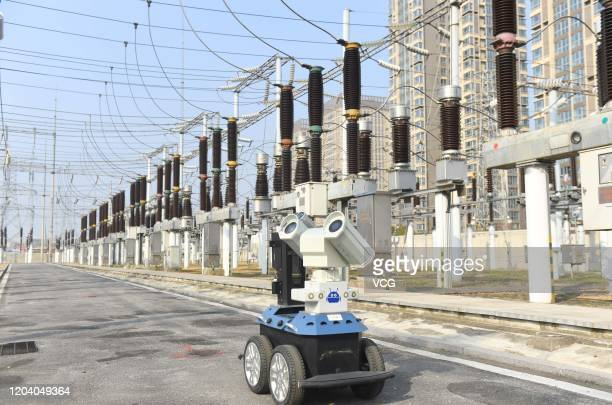 An intelligent robot inspects the equipment at a 220kV electrical substation on February 4, 2020 in Chuzhou, Anhui Province of China.