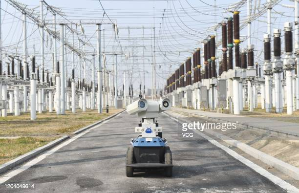 An intelligent robot inspects the equipment at a 220kV electrical substation on February 4 2020 in Chuzhou Anhui Province of China