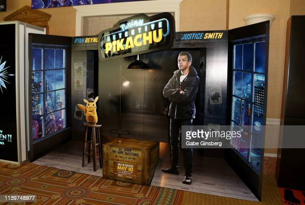 An interactive advertisement for the upcoming POKEMON Detective Pikachu movie is displayed at Caesars Palace during CinemaCon the official convention...