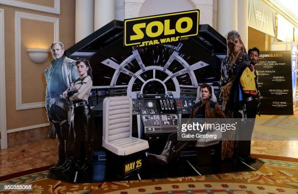 An interactive advertisement for the upcoming 'Solo A Star Wars Story' movie is displayed at Caesars Palace during CinemaCon the official convention...