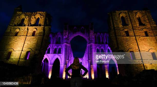 An interactive light installation titled 'Halo' illuminates the ruins of Rievaulx Abbey during a press preview evening on September 27 2018 in...