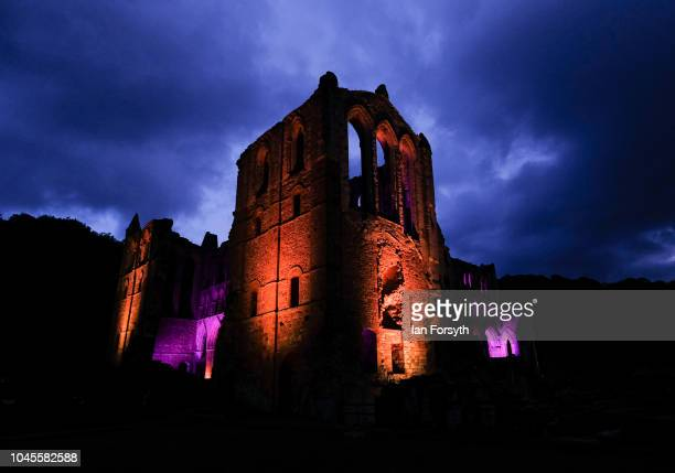 """An interactive light installation titled """"Halo"""" illuminates the ruins of Rievaulx Abbey during a press preview evening on September 27, 2018 in..."""