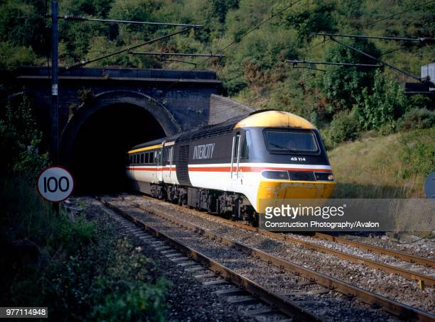 An InterCity 125 High Speed Train in British Rail livery emerges from Amptill tunnel South of Bedford with a London St Pancras bound service from the...