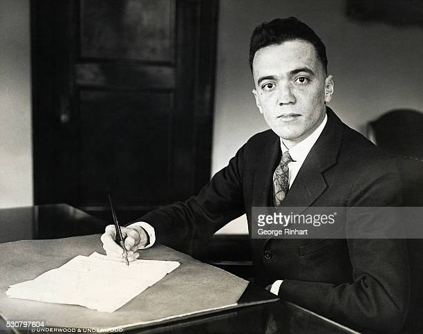An interesting camera study of J Edgar Hoover Chief of the Bureau of Investigation of the United States Department of Justice who has been designated...