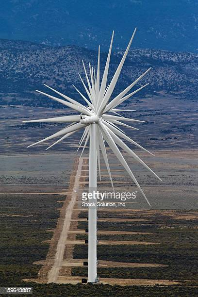 CONTENT] An interesting visual abstract from the alignment of 14 wind turbines on a western Nevada 'wind farm' Note the size relationship of the...