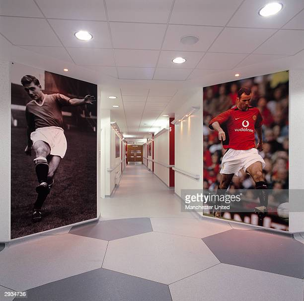 An interior general view of a corridor at the Manchester United Academy building at the Trafford Training Ground in Carrington on November 25 2003 in...