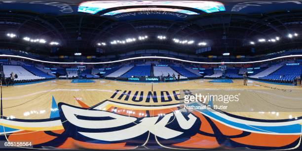 An interior general view of Chesapeake Energy Arena in Oklahoma City, Oklahoma on April 21 during the 2017 NBA Playoffs. NOTE TO USER: User expressly...