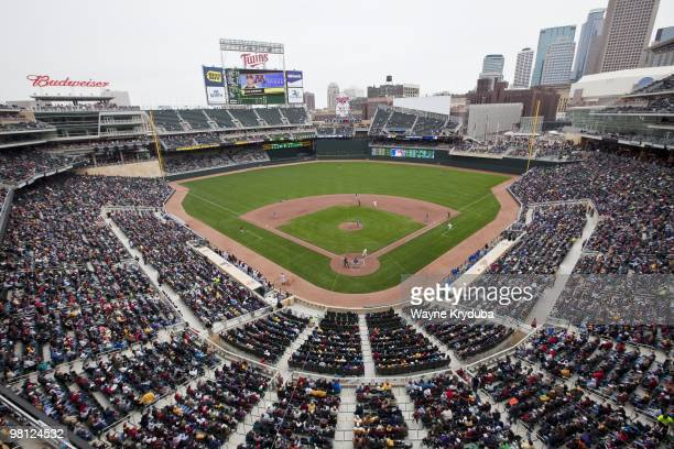 An interior general view of Target Field during the first college baseball game played at the stadium between the Louisiana Tech Bulldogs and the...