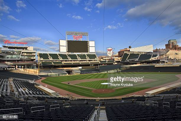 An interior general view of Target Field looking out from behind home plate showing the scoreboard and celebration sign on October 8 2009 at Target...