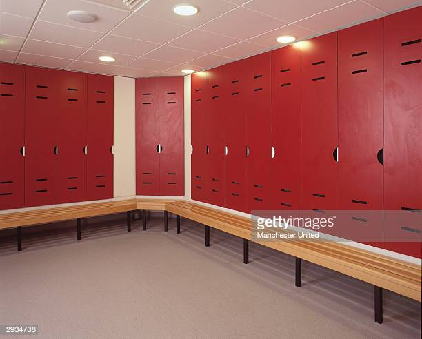 An interior general view of the changing rooms at the Manchester United Academy building at the Trafford Training Ground in Carrington on November 25...