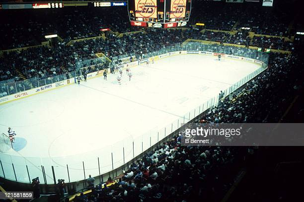 An interior general view of the Winnipeg Arena during the Dallas Stars and Winnipeg Jets NHL game on October 7 1995 at the Winnipeg Arena in Winnipeg...