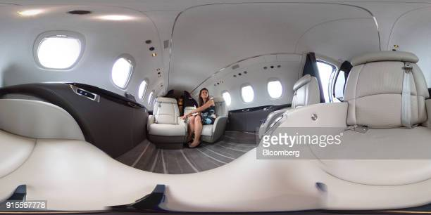 An interior of the Cessna Citation Latitude business jet manufactured by Cessna Aircraft Co a unit of Textron Inc is seen at the Singapore Airshow in...