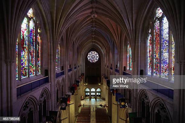 An interior shot of the Washington National Cathedral during a press tour February 18 2015 in Washington DC Today's news conference and press tour...
