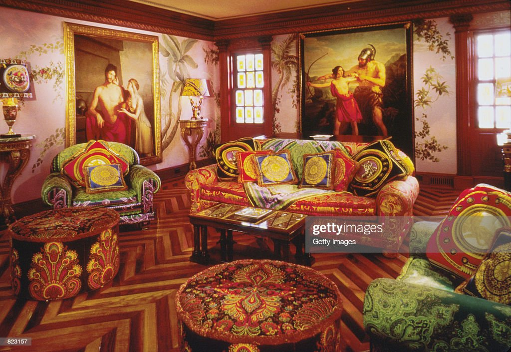 An interior space from the Miami home of murdered designer Gianni Versace. Sotheby's is auctioning the collection of Versace's furnishings that include his fine art, antiques, and entire suites of furniture designed by Versace himself, from April 5-7, in New York City.